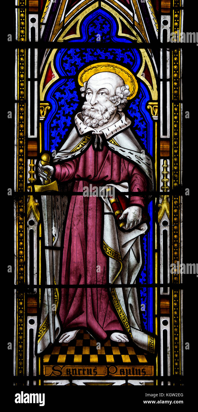 Saint Paul Glasmalerei, St. Peter's Kirche, Diddlebury, Shropshire, England, Großbritannien Stockbild