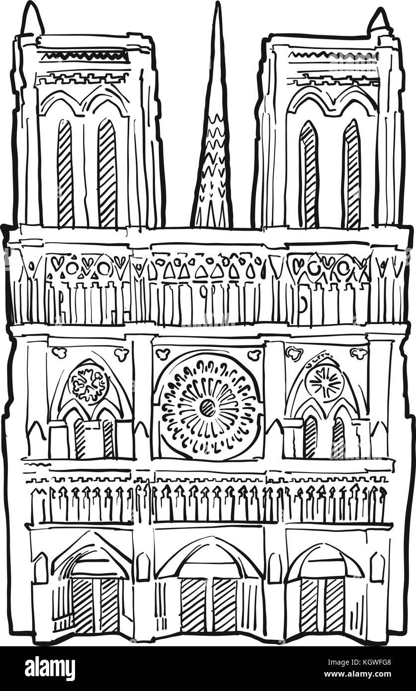 Notre Dame Fassade Abbildung Hand Historischer Grenzstein Gezogen