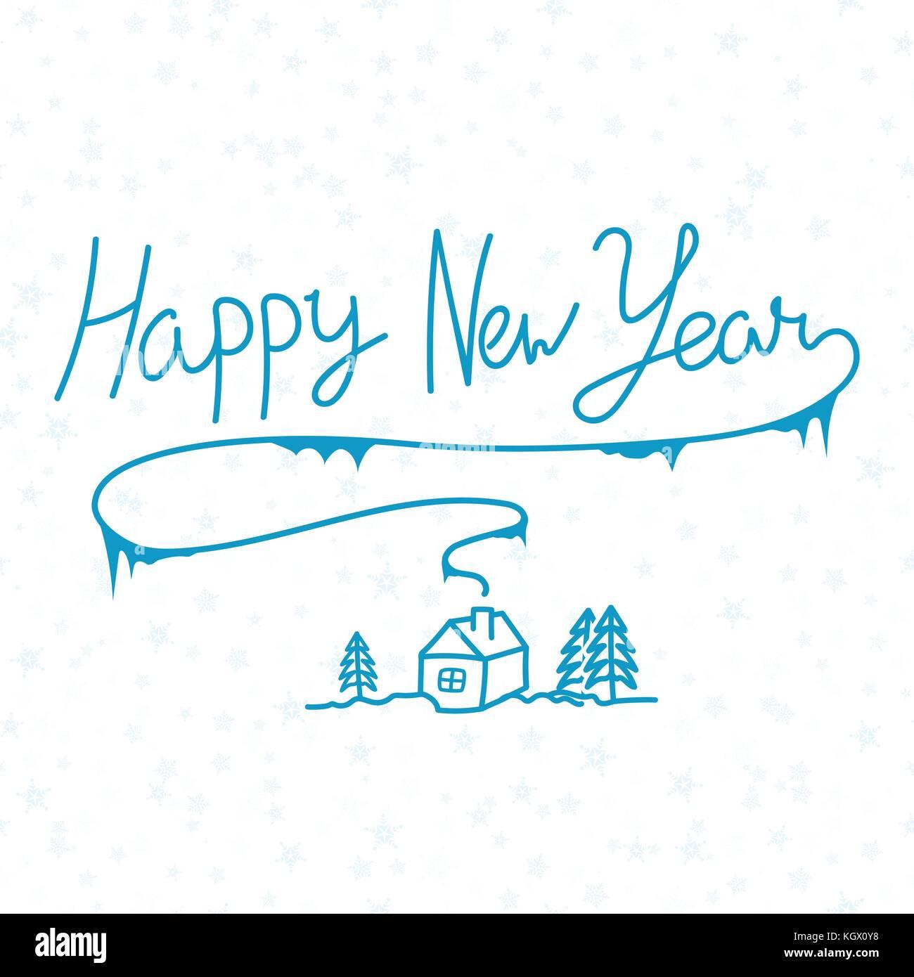 Frohes neues Jahr linear Kalligraphie Hand gezeichnet Beschriftung ...