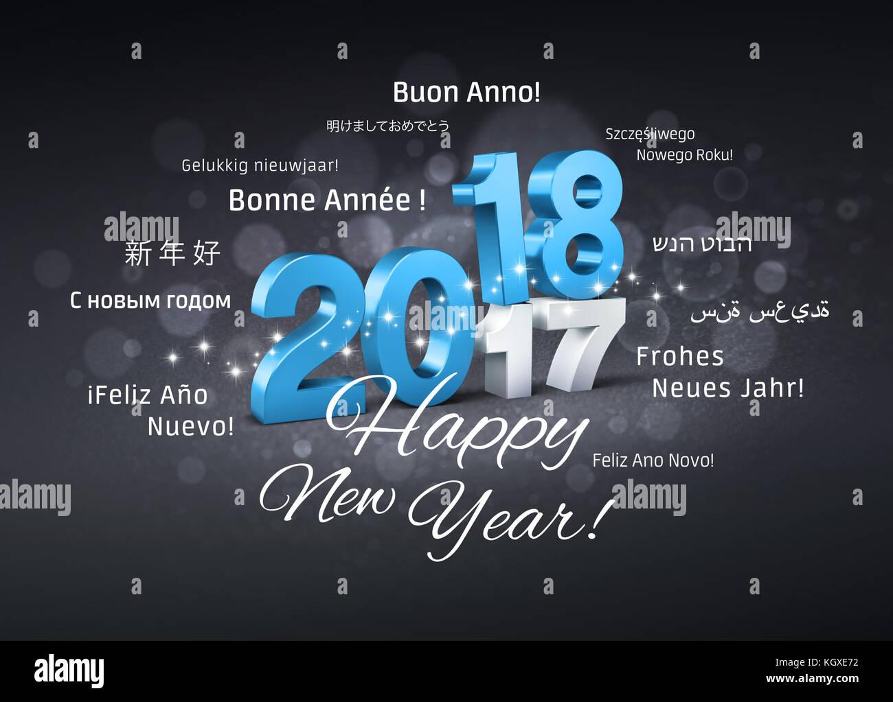 Blue Datum 2018 oben 2017 und ein glückliches neues Jahr Begrüßungen ...