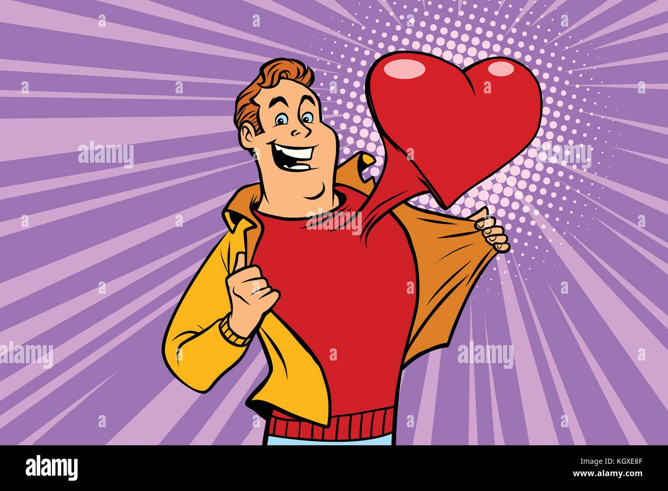 Valentinstag Der Mensch In Der Liebe Mit Einem Roten Herzen Comic