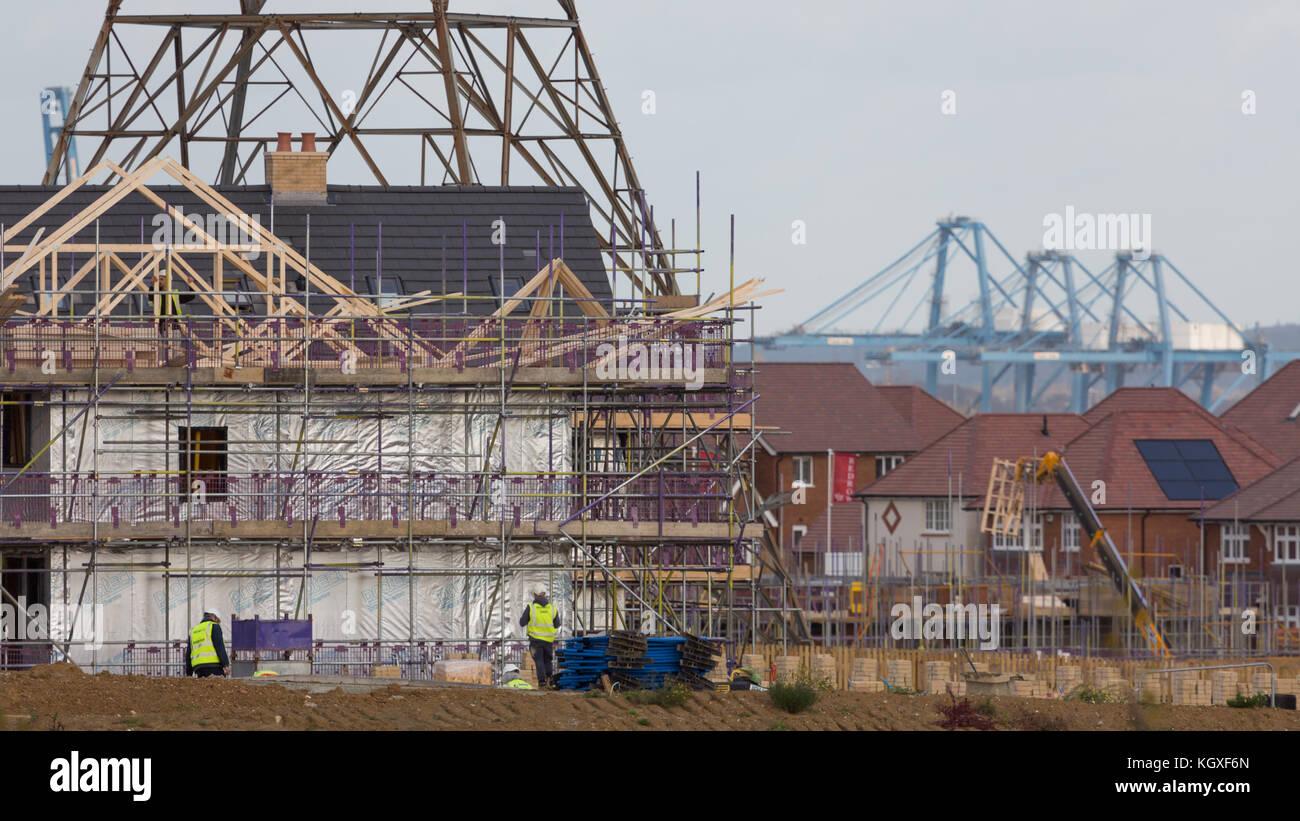 Der Bau von neuen Häusern in ebbsfleet Garden City in Kent. Stockbild
