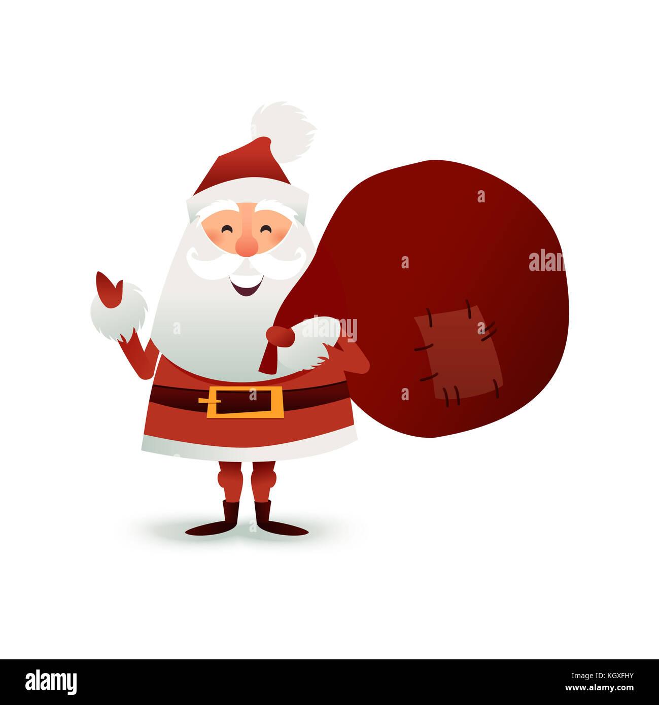 Weihnachtsmann mit Sack voller Geschenke und Geschenk Boxen. frohe ...