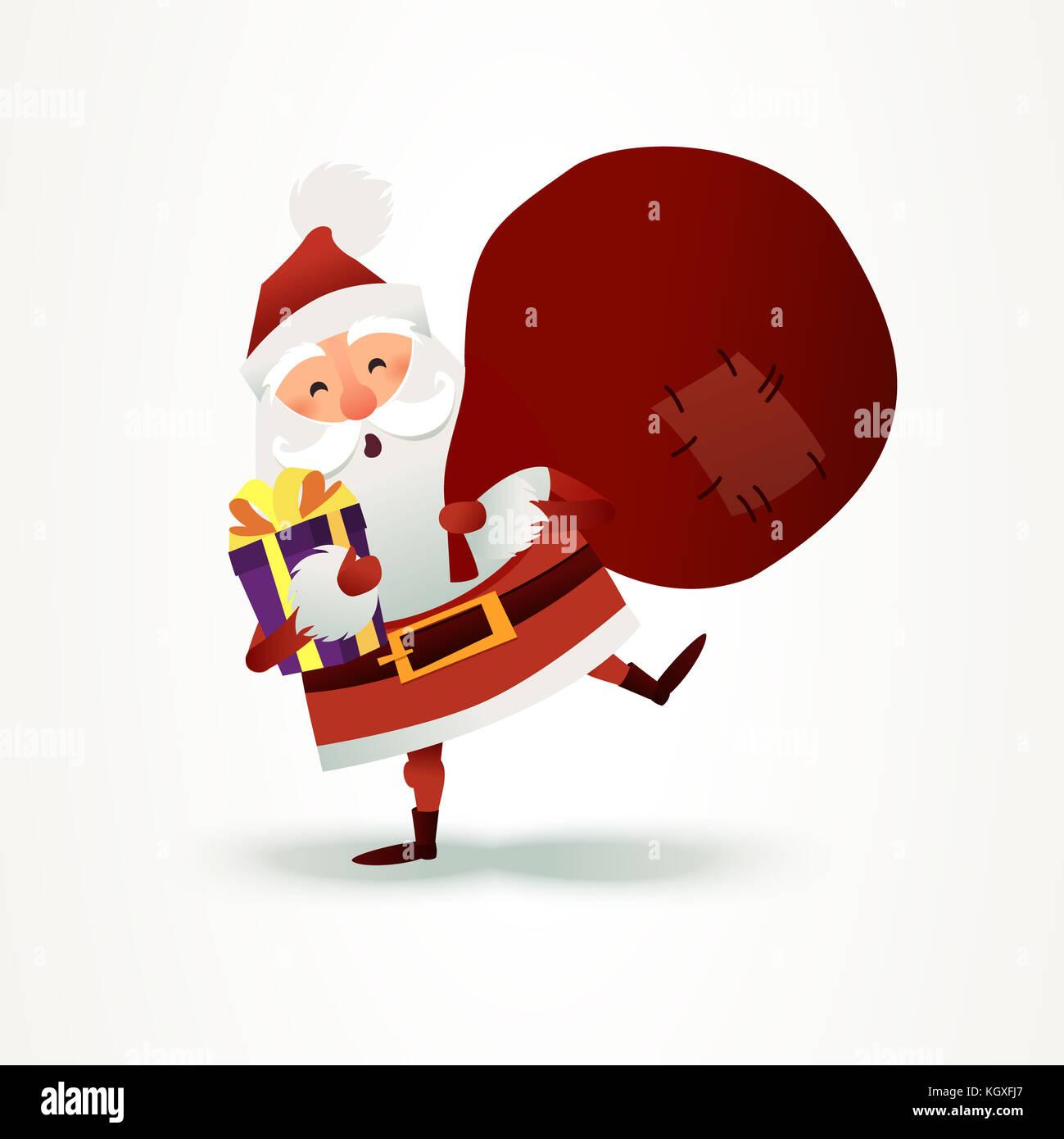 Weihnachtsmann mit Sack voller Geschenke und Geschenk Box. frohe ...
