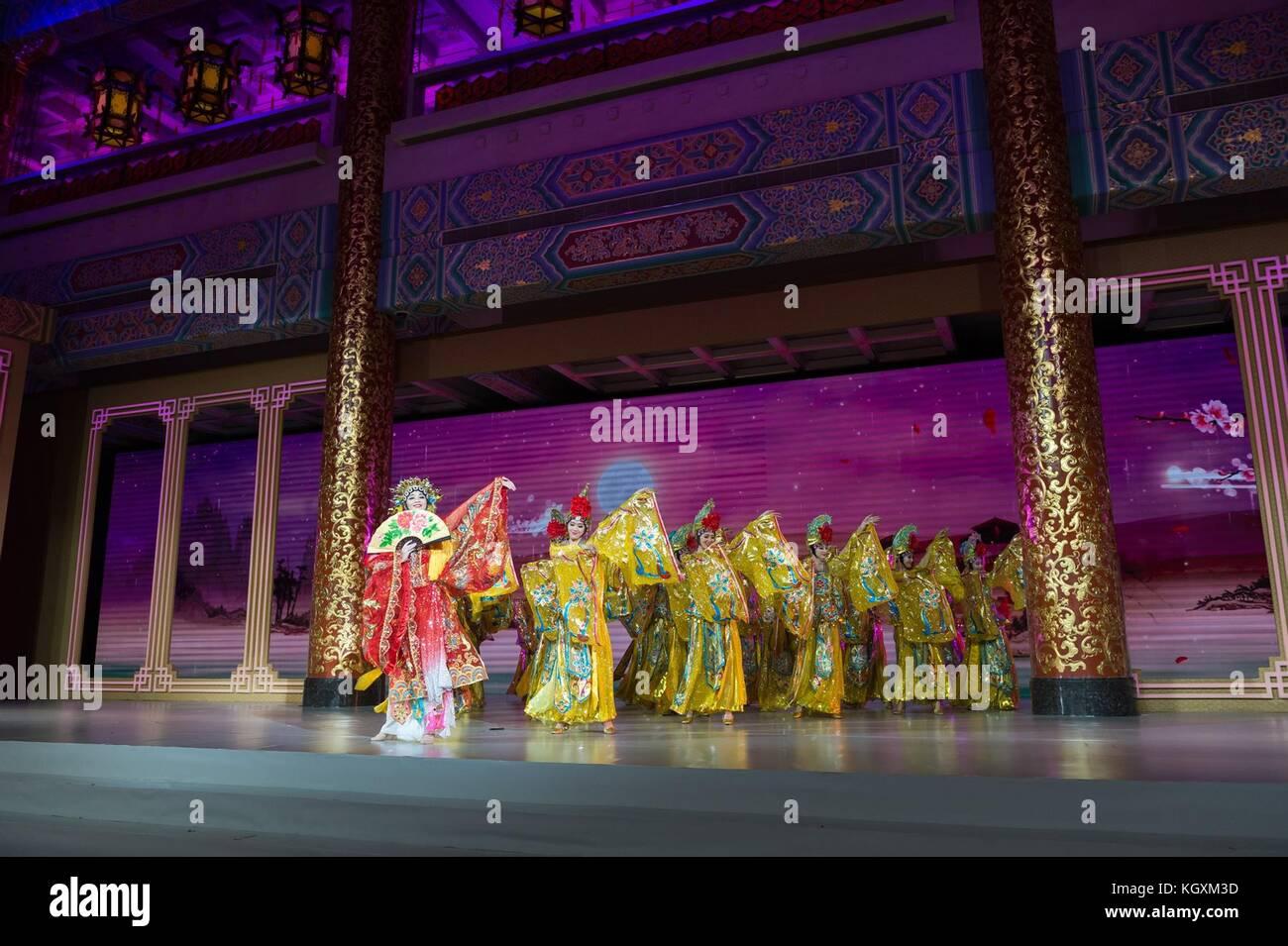 Traditionelle chinesische Künstler während der Unterhaltung Teil des Staates Abendessen für US-Präsident Stockbild