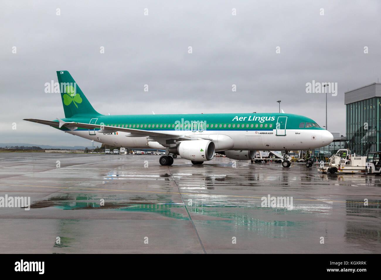 Aer Lingus airbus a320 ei-DM auf dem Boden an einem regnerischen Tag in Belfast City Airport. Stockbild