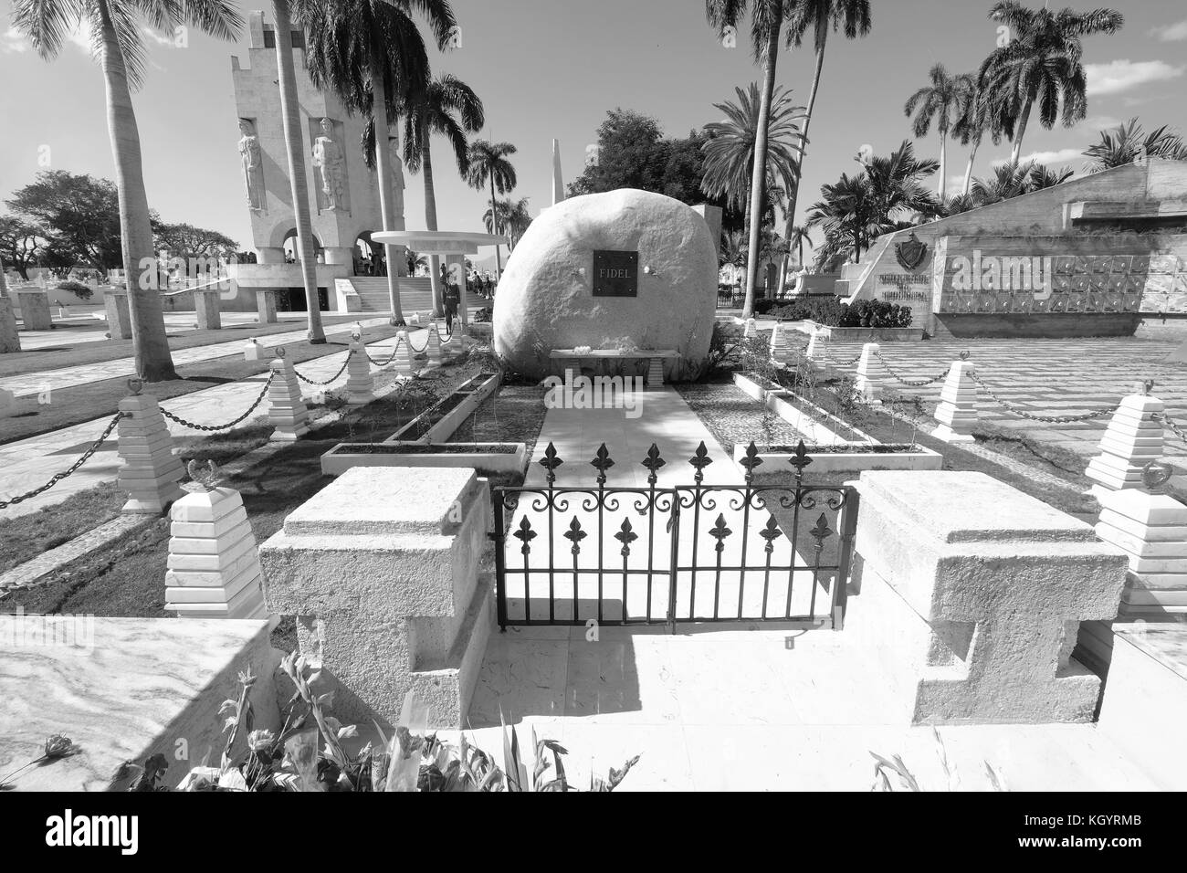 Sehenswürdigkeiten außerhalb des Fidel Castro Grab, Santa ifigenia Friedhof, Santiago de Cuba, Kuba Stockbild