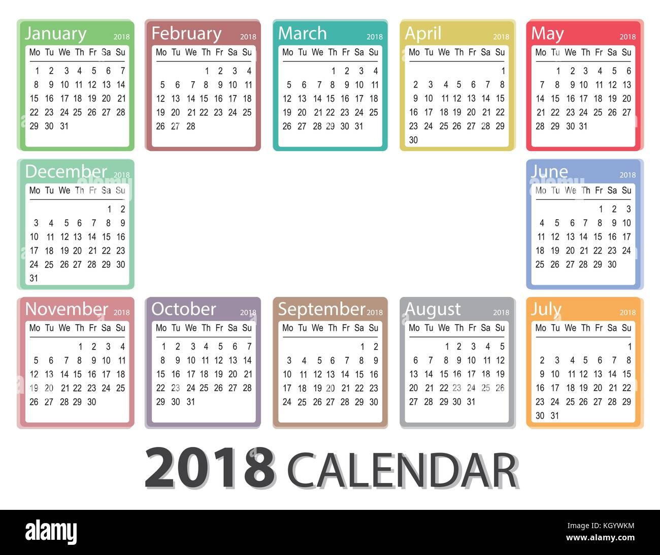 2018 Jahr Kalender, Woche am Montag beginnt, monatliche Vorlage ...