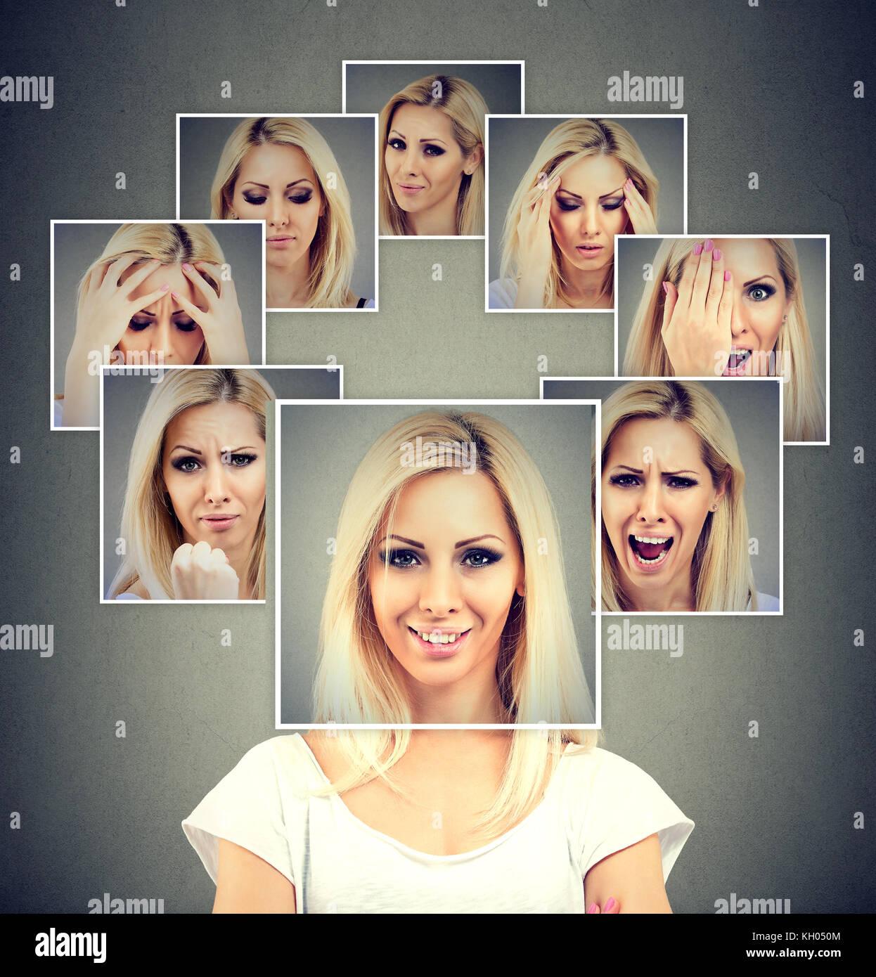Portrait Of Happy maskierte Frau verschiedene Emotionen ausdrücken Stockbild