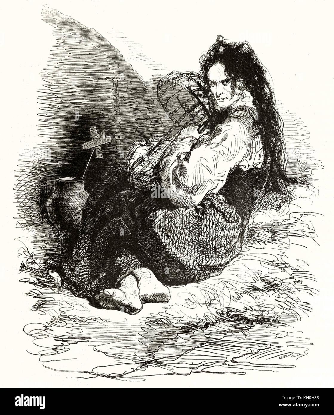 Alte Illustration, Geisteskranke und Kis Baby. Von Gavarni, Publ. Auf Magasin Pittoresque, Paris, 1847 Stockbild