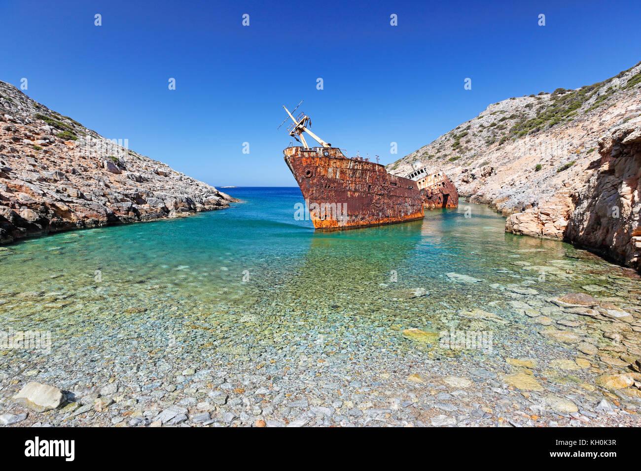 Olympia Schiffbruch von amorgos Insel der Kykladen, Griechenland Stockfoto