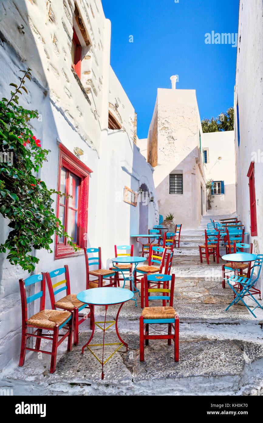 Die Straßen von Chora in Insel Amorgos, Griechenland Stockbild
