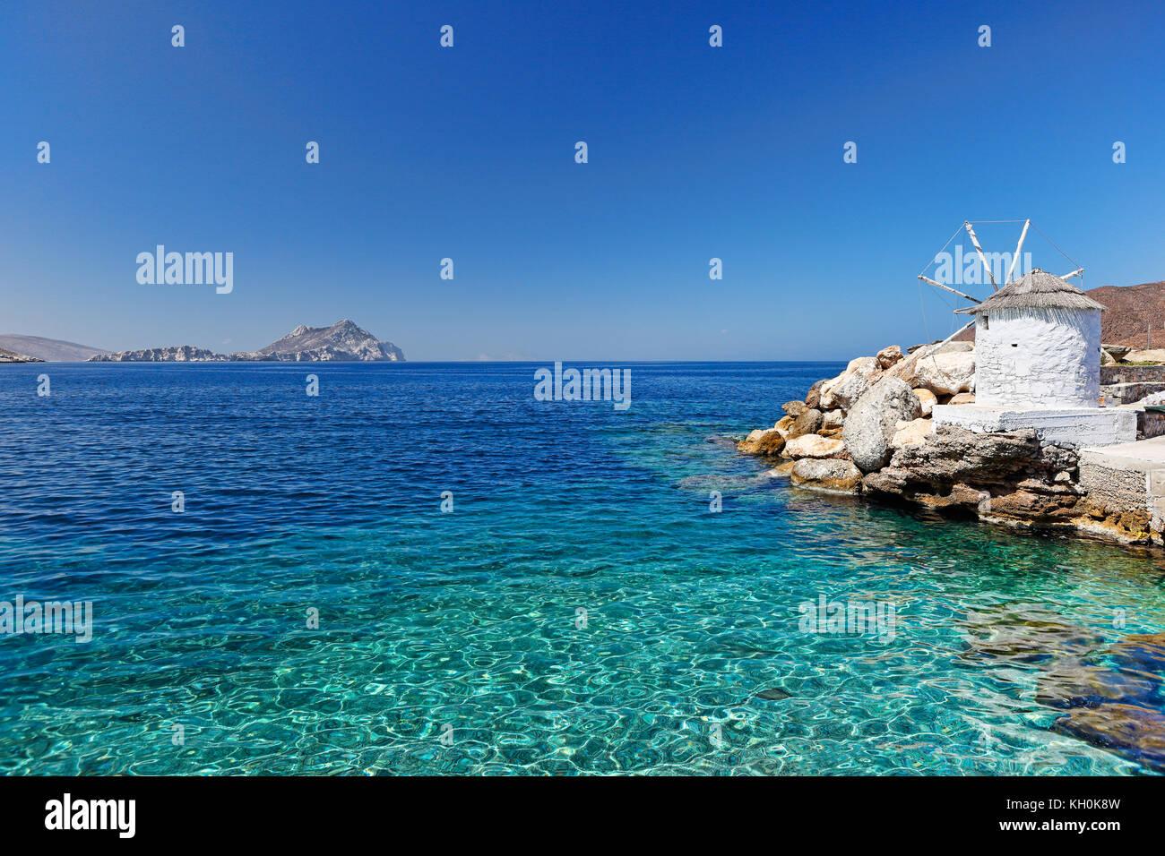 Der Hafen in aegiali Insel Amorgos, Griechenland Stockbild