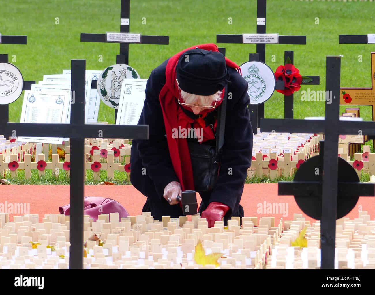 London, Großbritannien. 13 Nov, 2017. Menschenmassen versammeln, um Ansehen und Werk memorial Mohn die der beiden Stockfoto