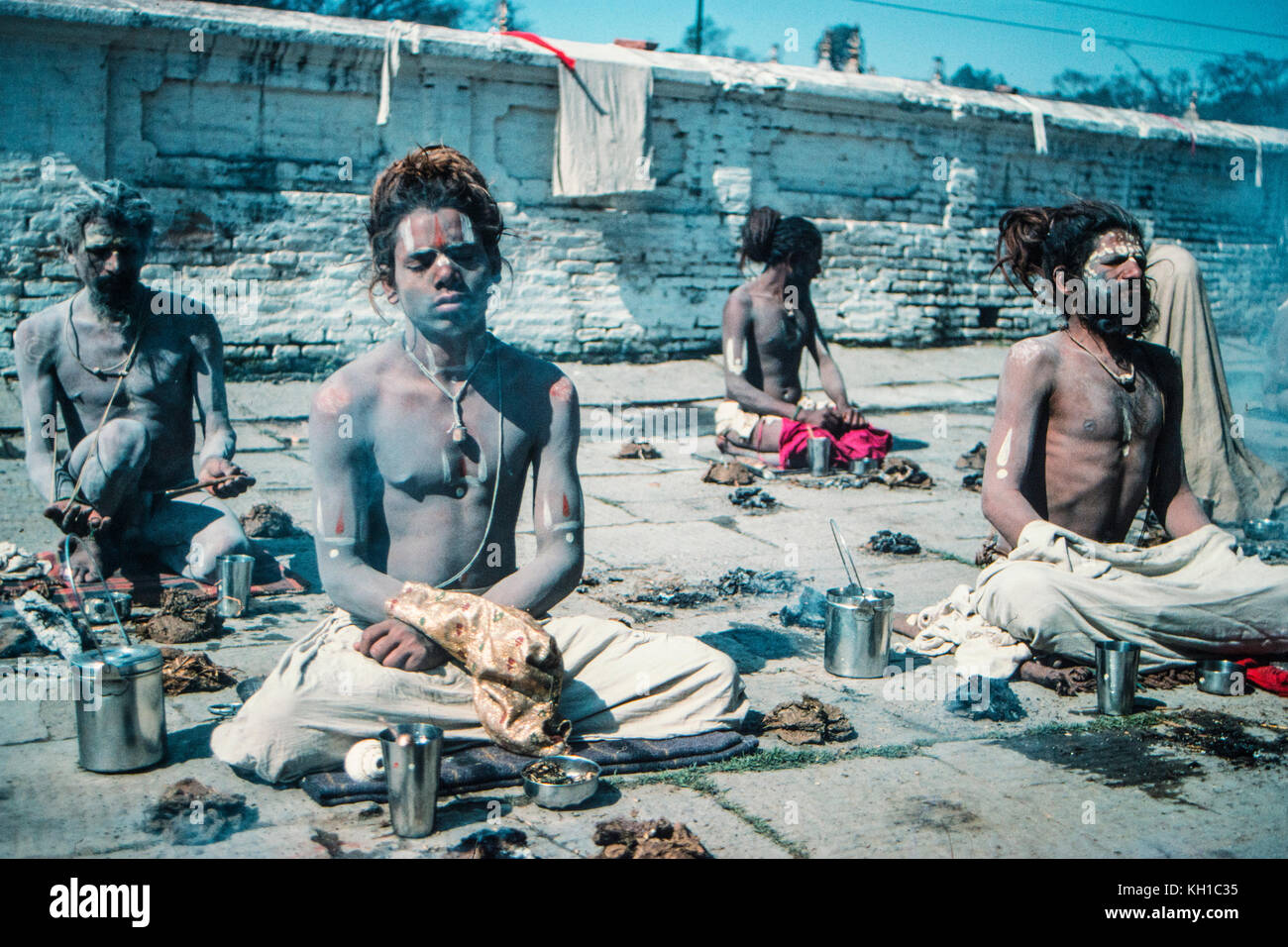 Sadhus in Pashupatinath Stockbild