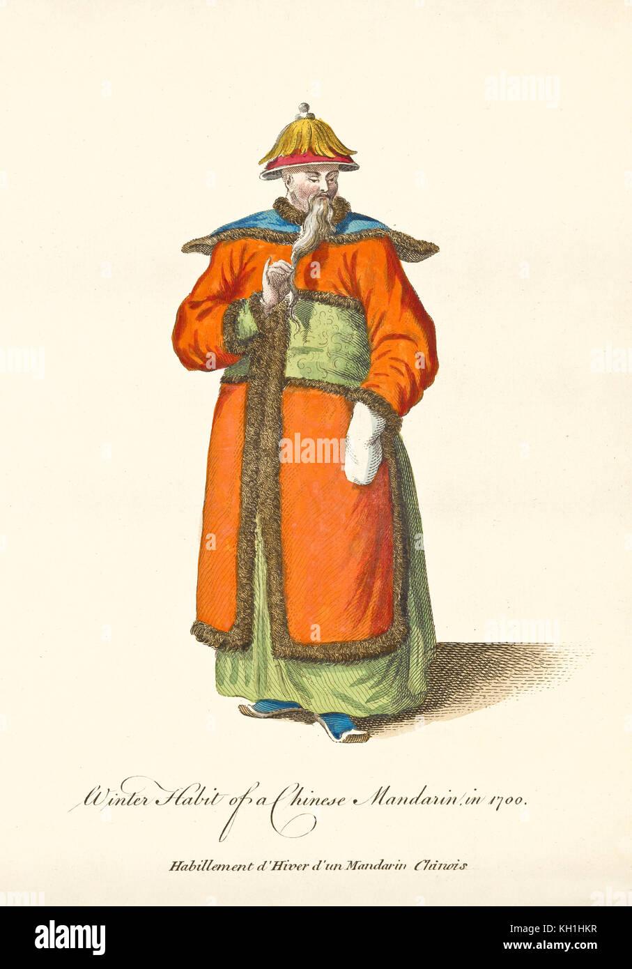 c10e7b4a7f6f2e Alte illustratiion der chinesische Mandarin in traditionellen Winter Kleider  in 1700. Von J.M. Vien,