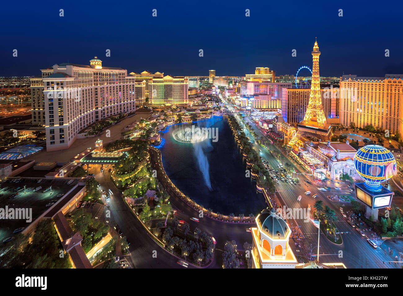 Las Vegas Strip Skyline bei Nacht Stockbild