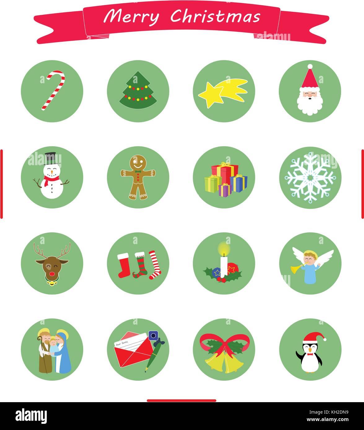 Artikel Von Weihnachten.Weihnachten Icons Collection Banner Und 16 Artikel Vektor Abbildung