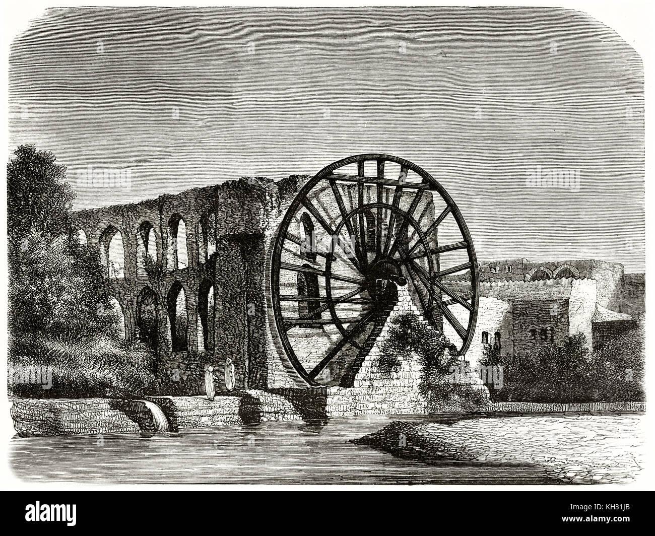 Alte Ansicht einer Noira (Maschine Heben von Wasser) entlang des Orontes, Syrien. Nachdem Hachette, Publ. Bei le Stockbild