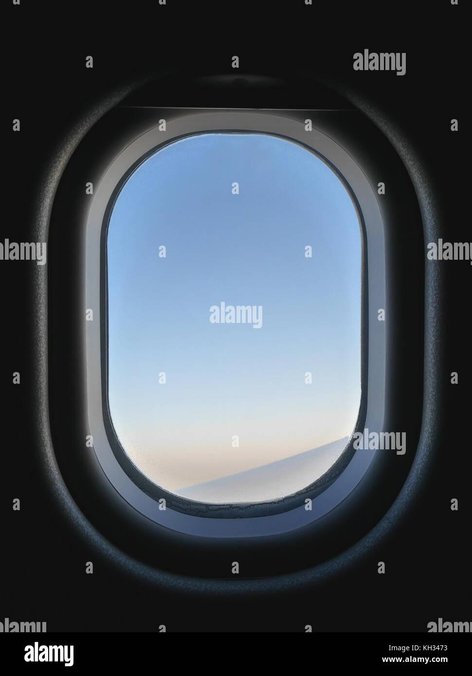 Gefrorene Flugzeug Fenster Blick Von Innen Blau Und Rosa Himmel Und