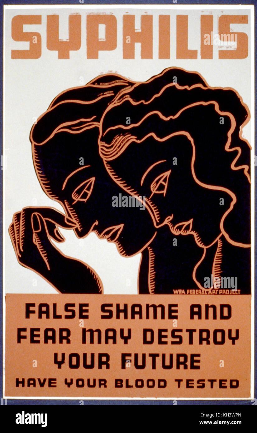 Plakat für die Prüfung von Syphilis, Syphilis. Ein frühes Bild von Menschen mit Syphilis Stockbild