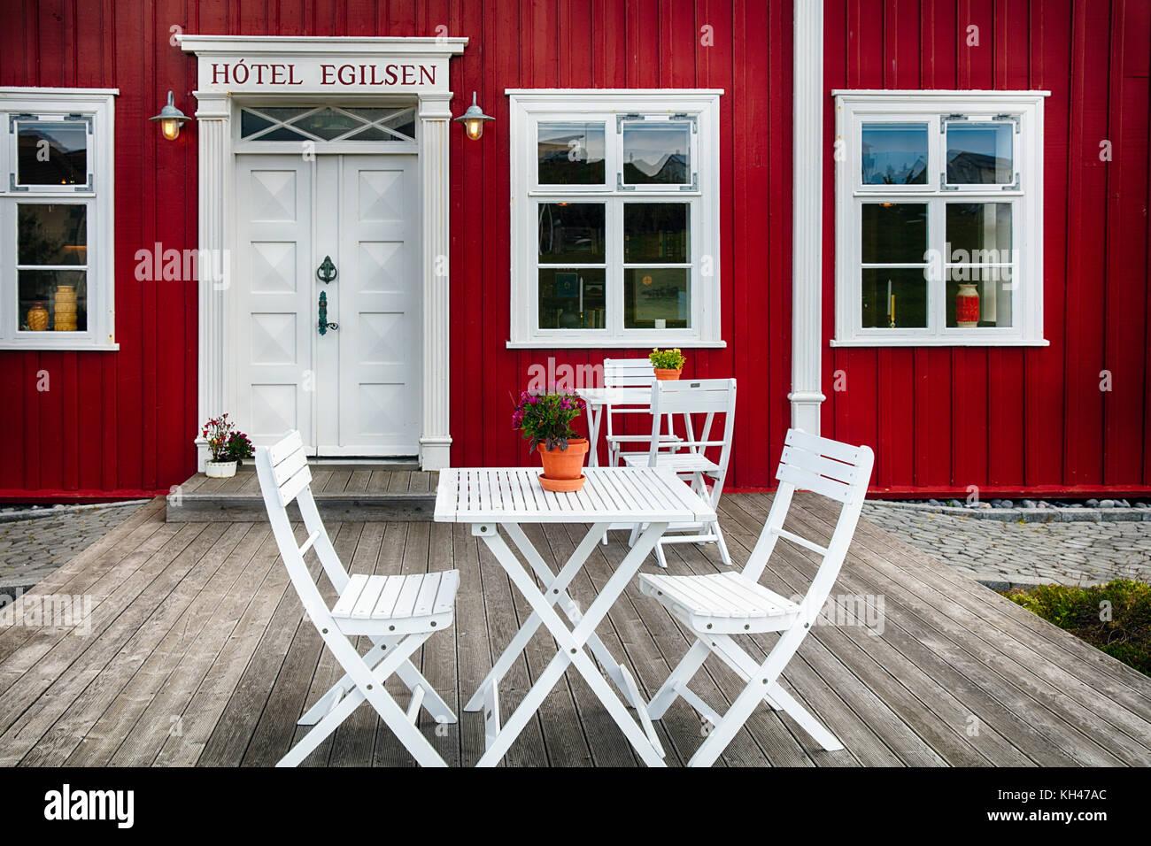 Vorderansicht eines Country Inn Eingang, Pori, Island Stockbild