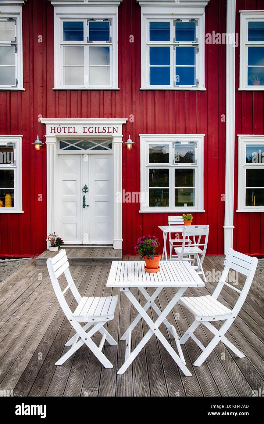 Anzeigen eines Country Inn Eingang, Pori, Island Stockbild