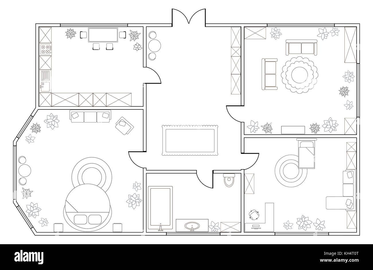 Plan View Apartment Kitchen Dining Stockfotos & Plan View Apartment ...