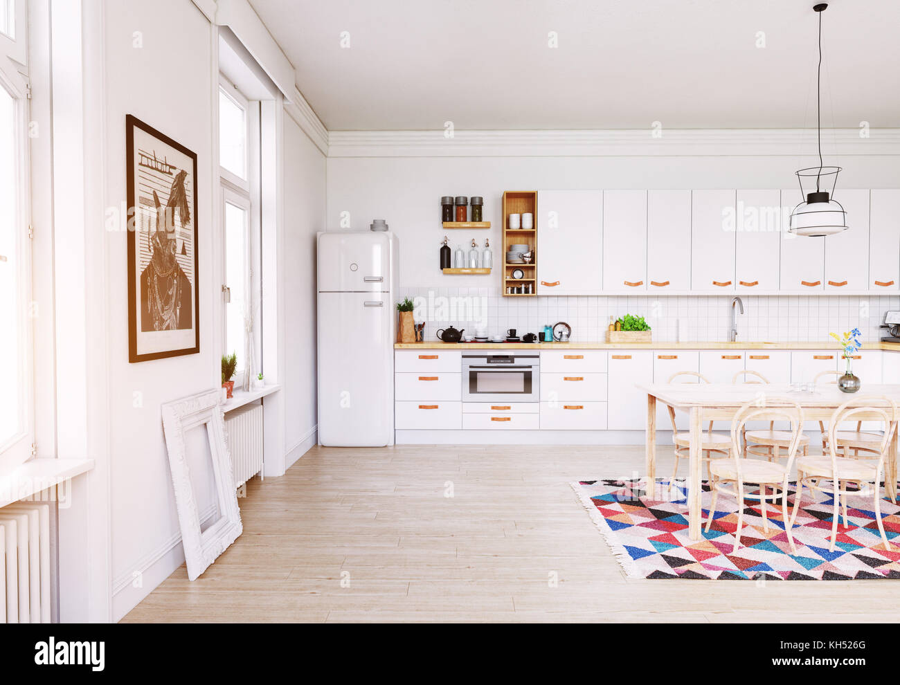Moderne Küche Interieur. skandinavisches Design. 3D-rendering ...