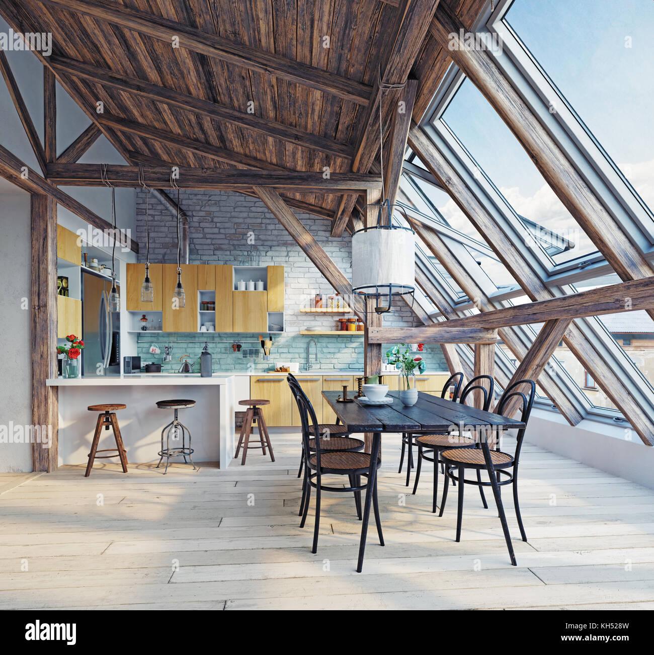 Moderne Dachgeschoss Küche Interieur. 3D-rendering Konzept Stockfoto ...