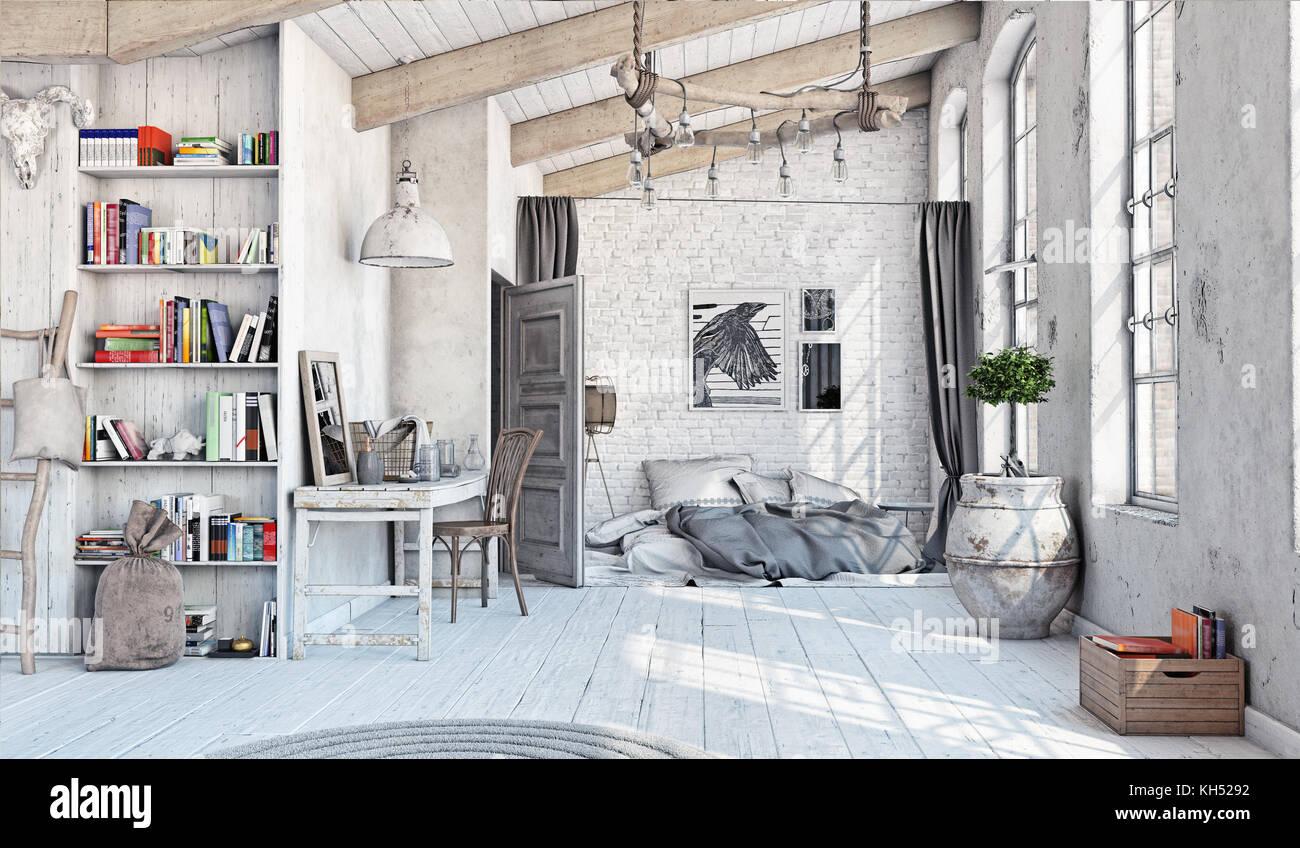 Im skandinavischen Stil eingerichtet. Schlafzimmer im Dachgeschoss. 3D-Rendering Stockbild