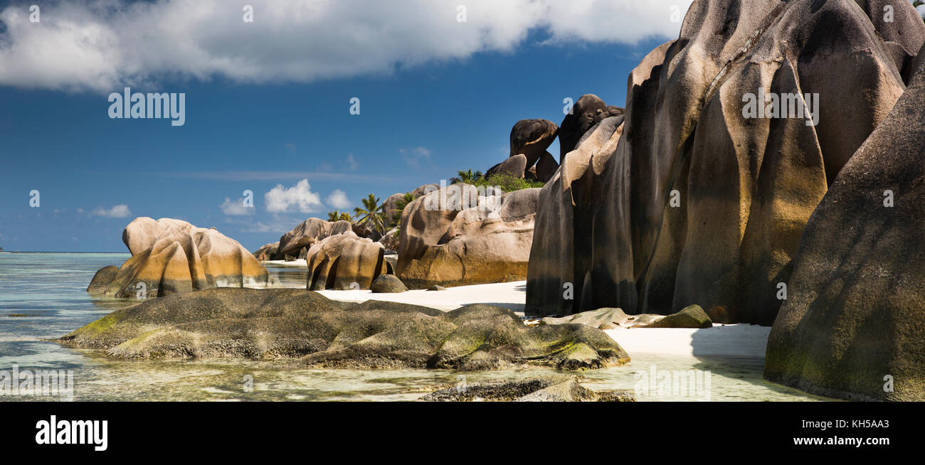 Die Seychellen, La Digue, l'union Estate, Anse Source D'Argent Strand, Panoramaaussicht Stockbild