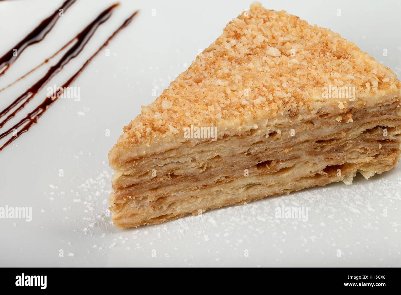 Ein Stuck Des Kuchens Napoleon Auf Eine Platte Klassische Napoleon