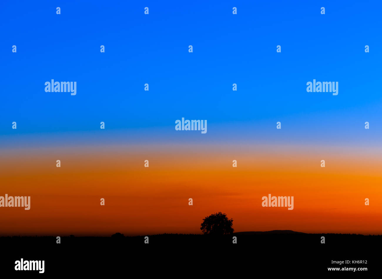 Landschaft zur Bleuen stunde Stockbild
