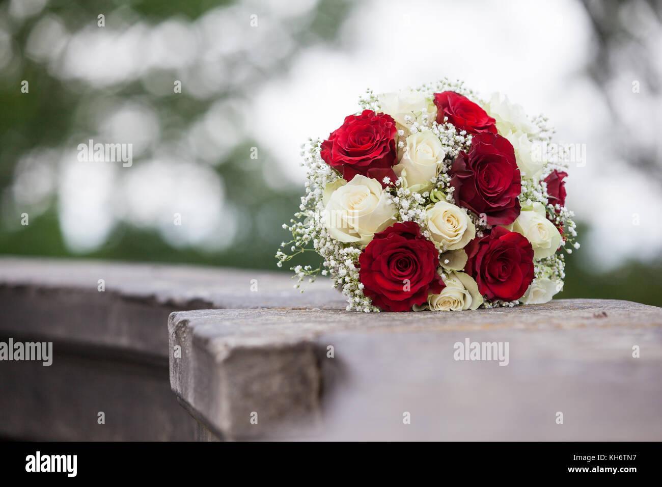 Brautstrauss Weisse Und Rote Rosen Stockfoto Bild 165493587 Alamy
