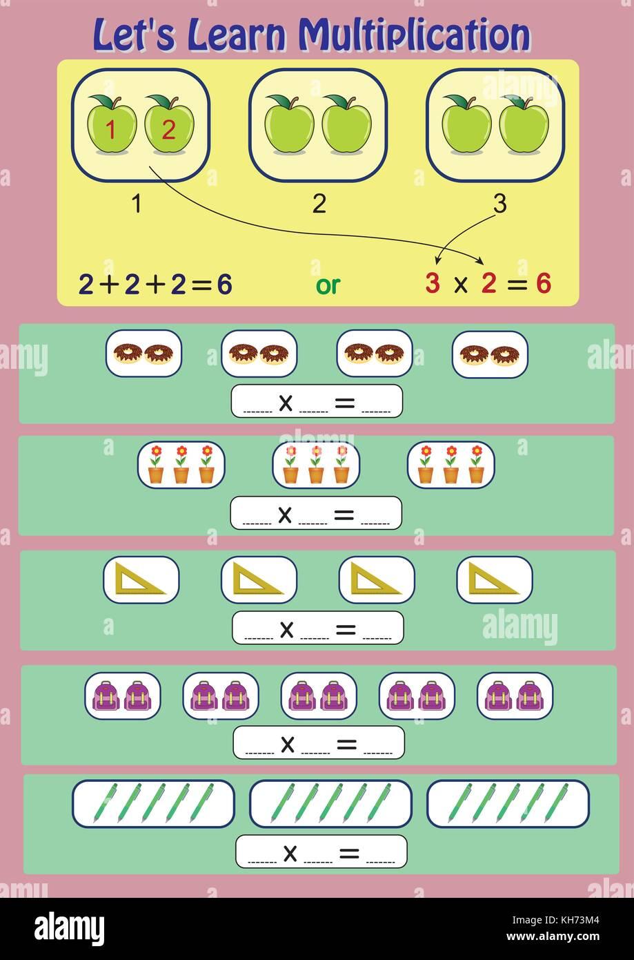 Vector Illustration Kids Studying Math Stockfotos & Vector ...