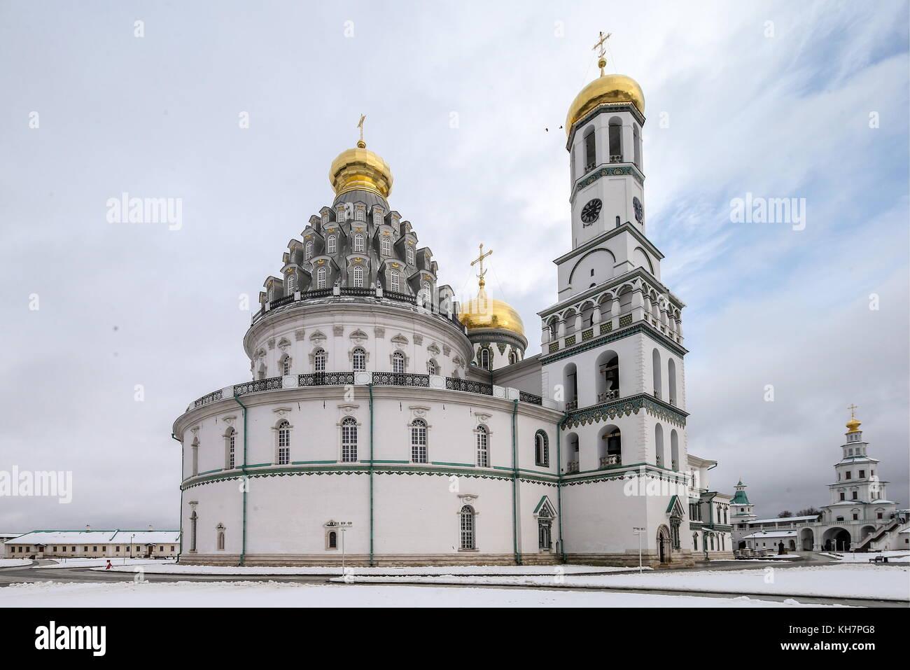 Region Moskau, Russland. 15 Nov, 2017. Ein Blick auf die Kathedrale der Auferstehung im neuen Jerusalem Kloster Stockfoto