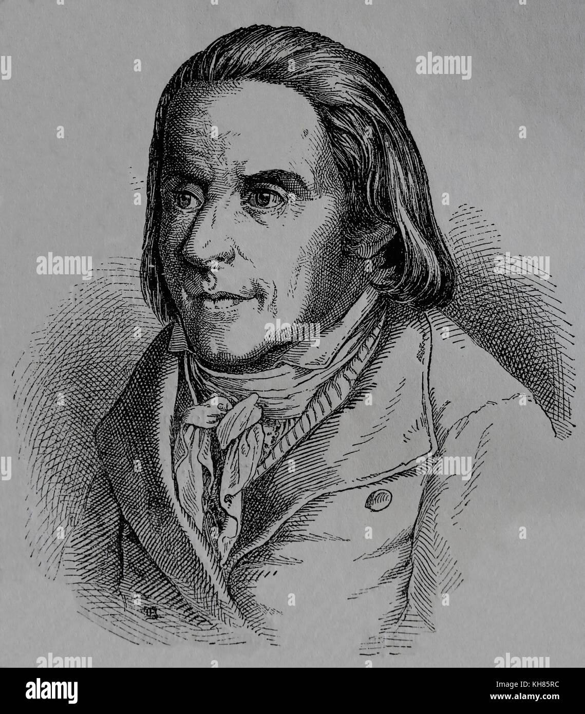 Johann Heinrich Pestalozzi (1746-1827), Schweizer Pädagoge und Bildung Reformer. der deutschen Romantik Schule. Stockbild