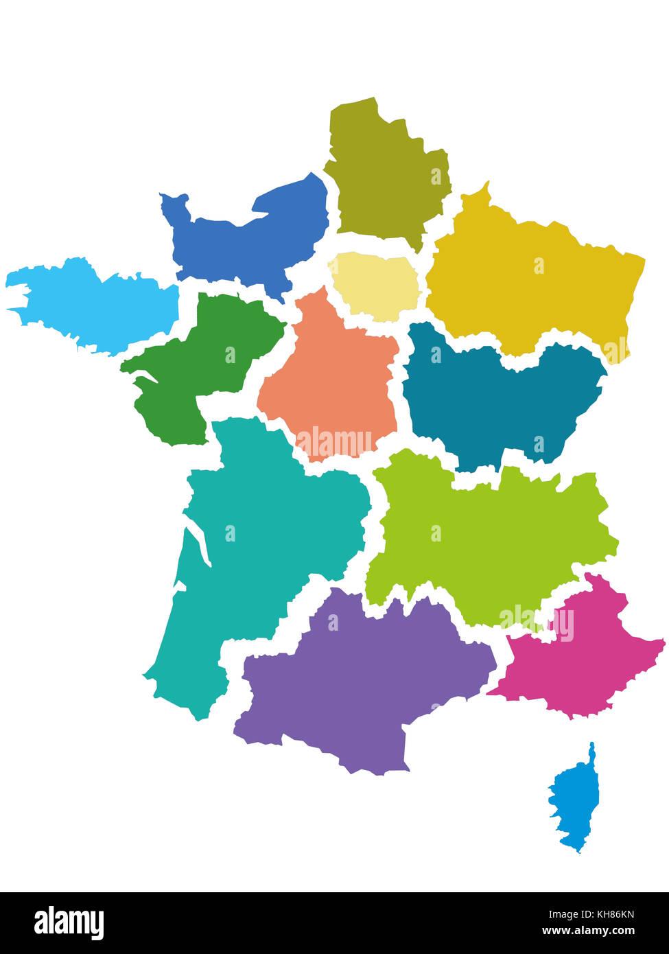 Frankreich Karte Regionen.Karte Von Frankreich Mit Den 13 Regionen Angenommen Von Der