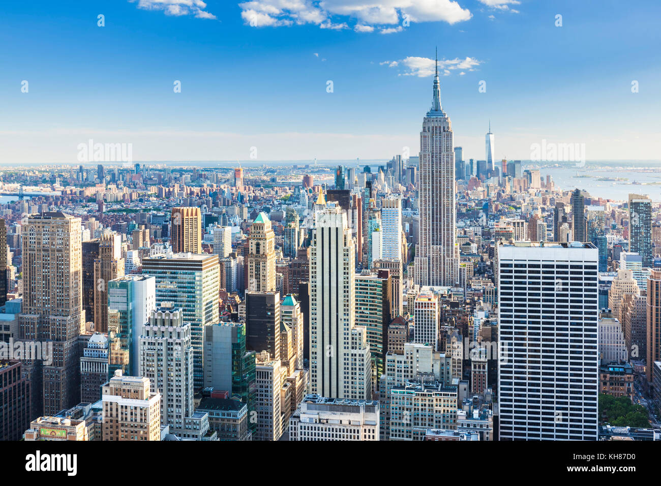 Skyline von Manhattan, New York Skyline, das Empire State Building, New York City, Vereinigte Staaten von Amerika, Stockbild