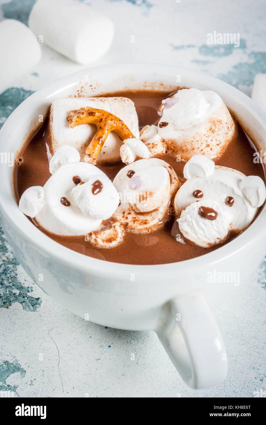 Idee für Kinder Weihnachten Snack, heiße Schokolade mit Teddybären ...