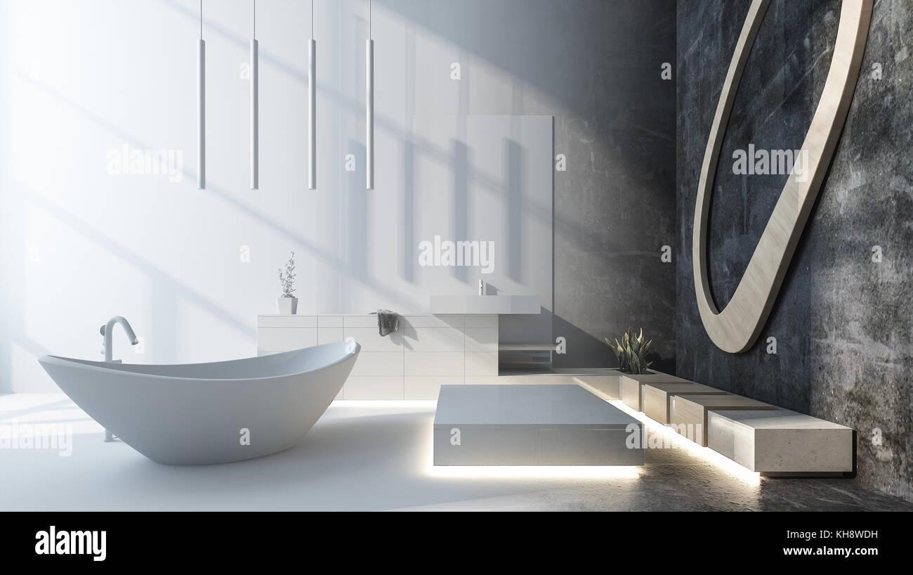 Moderner Luxus Designer Badezimmer Mit Grau Dekor Und Eine Freistehende  Badewanne Oval Boot Geprägt Durch Ankommende Sonnenlicht Beleuchtet.  3D Rendering