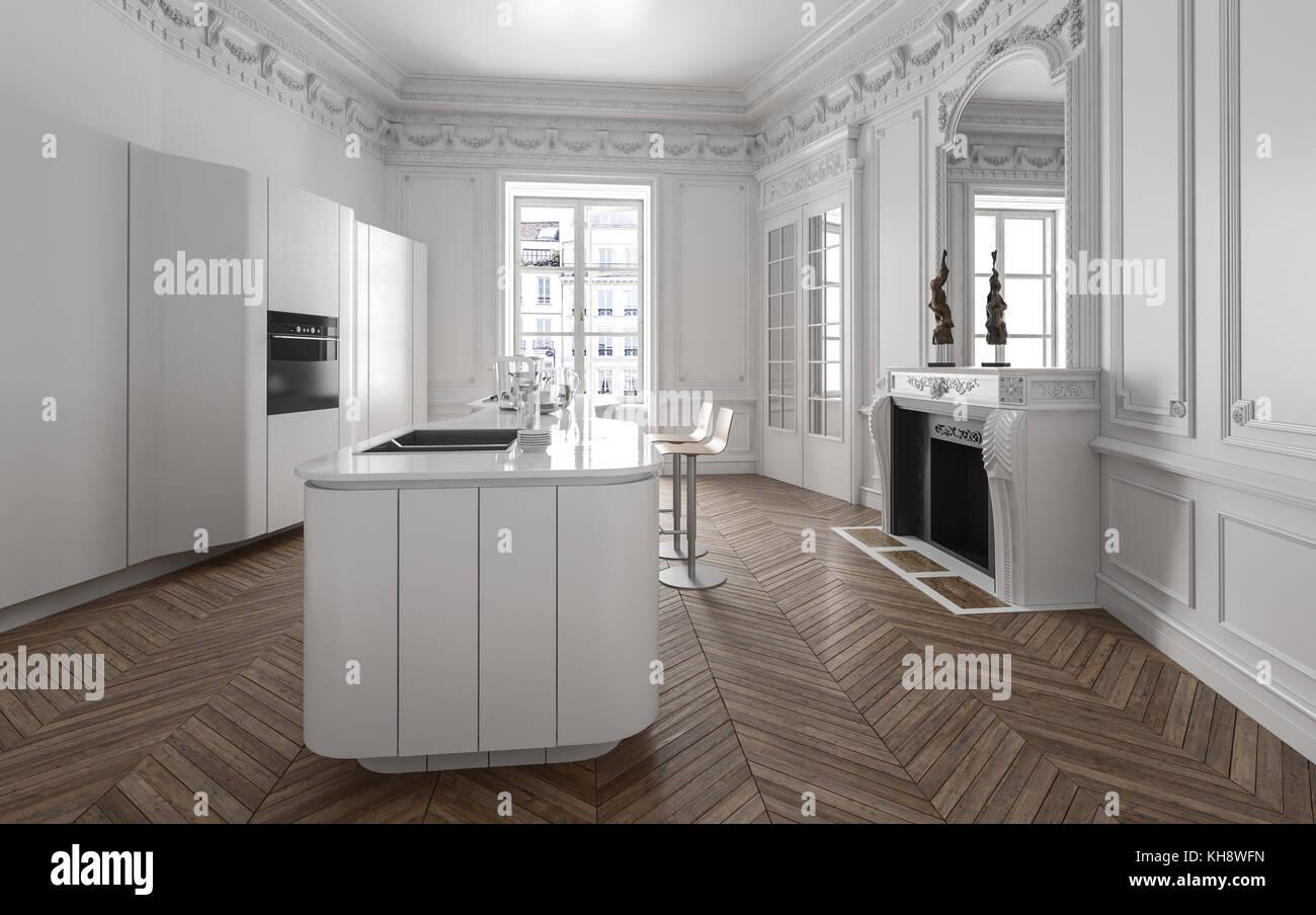 Offene Moderne Kuche Interieur Ausgestattet Mit Geraten Zentrum Der