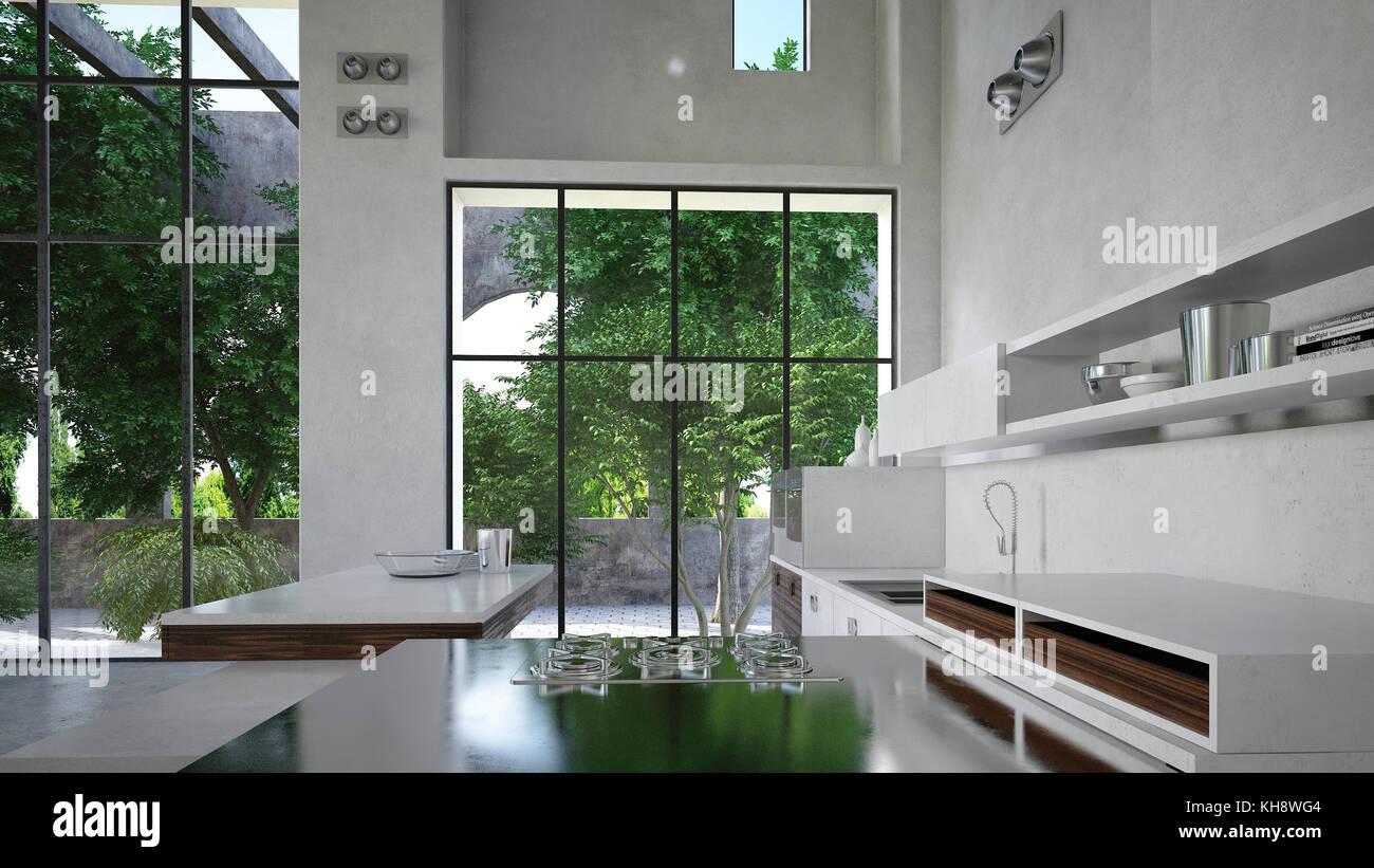 Geräumige, moderne weiße Luxus Küche Interieur ausgestattet mit ...
