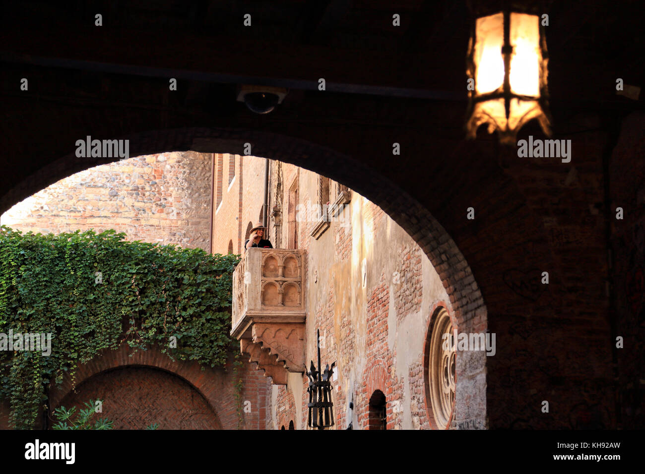 Julias Balkon. Haus von Romeo und Julia, Verona Stockbild