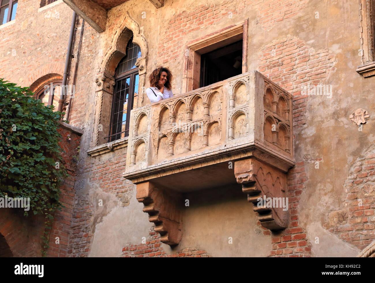 Julias Balkon.Haus von Romeo und Julia, Verona Stockbild