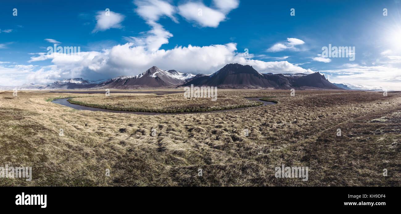 Panorama von einer schönen Morgen in Island Stockbild
