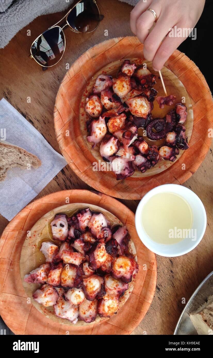 Octopus vorbereitet galizischen Stil, Pulpo a Feira. Stockbild