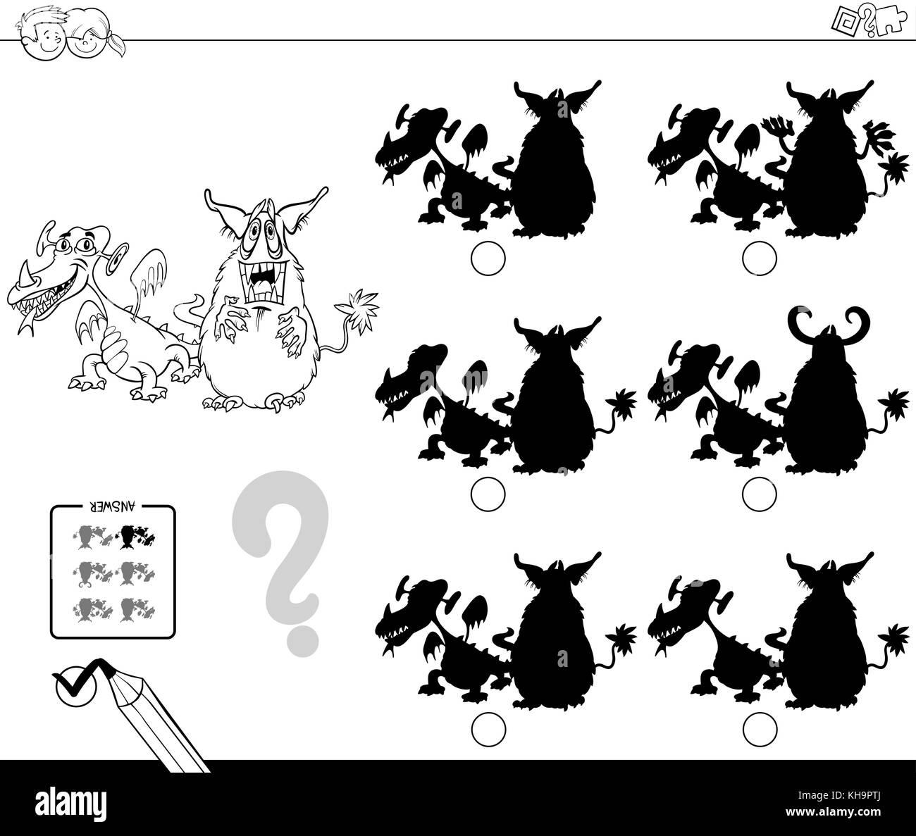 Schwarze und weiße Cartoon Illustration zu finden, die Schatten ...