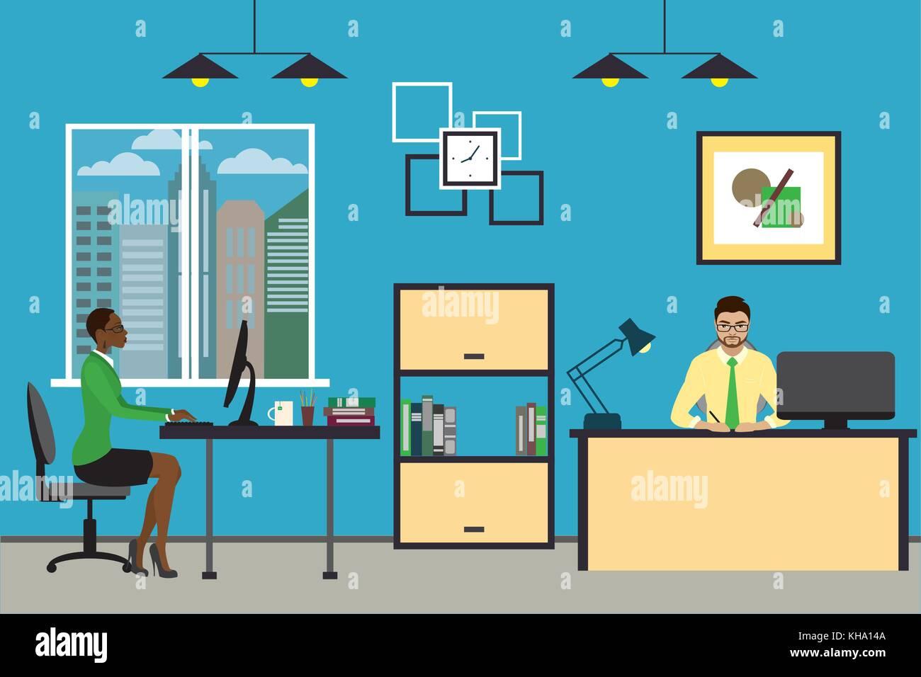Cartoon business Leute, die zu Hause oder im modernen Büro ...